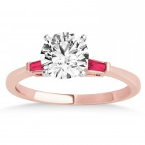 Tapered Baguette 3-Stone Ruby Engagement Ring 18k Rose Gold (0.10ct)