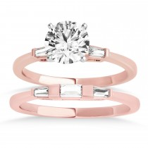 Tapered Baguette 3-Stone Diamond Bridal Set 14k Rose Gold (0.30ct)