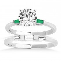 Tapered Baguette 3-Stone Emerald Bridal Set Platinum (0.30ct)