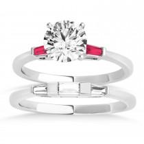 Tapered Baguette 3-Stone Ruby Bridal Set Palladium (0.30ct)