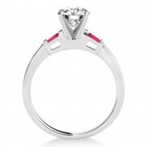 Tapered Baguette 3-Stone Ruby Bridal Set Platinum (0.30ct)
