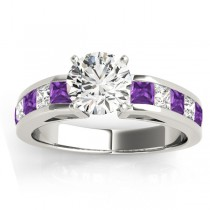 Diamond and Amethyst Accented Engagement Ring 14k White Gold 1.00ct