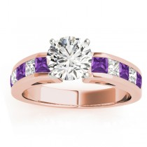 Diamond and Amethyst Accented Engagement Ring 18k Rose Gold 1.00ct