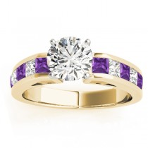 Diamond and Amethyst Accented Engagement Ring 18k Yellow Gold 1.00ct