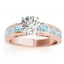 Diamond and Aquamarine Accented Engagement Ring 14k Rose Gold 1.00ct
