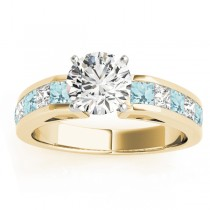 Diamond and Aquamarine Accented Engagement Ring 18k Yellow Gold 1.00ct