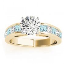 Diamond and Aquamarine Accented Engagement Ring 18k Yellow Gold 1.00ct