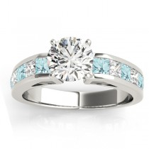 Diamond and Aquamarine Accented Engagement Ring Palladium 1.00ct