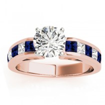 Diamond & Blue Sapphire Accents Engagement Ring 18k Rose Gold 1.00ct