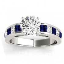 Diamond & Blue Sapphire Accents Engagement Ring 18k White Gold 1.00ct