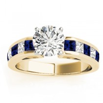 Diamond & Blue Sapphire Accents Engagement Ring 18k Yellow Gold 1.00ct