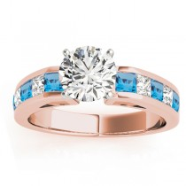 Diamond and Blue Topaz Accented Engagement Ring 18k Rose Gold 1.00ct