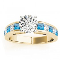 Diamond and Blue Topaz Accented Engagement Ring 18k Yellow Gold 1.00ct