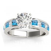 Diamond and Blue Topaz Accented Engagement Ring Palladium 1.00ct