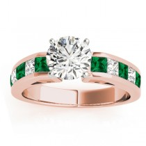Diamond and Emerald Accented Engagement Ring 14k Rose Gold 1.00ct