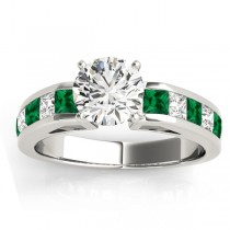 Diamond and Emerald Accented Engagement Ring 14k White Gold 1.00ct