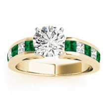 Diamond and Emerald Accented Engagement Ring 14k Yellow Gold 1.00ct