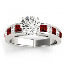 Diamond and Garnet Accented Engagement Ring 14k White Gold 1.00ct