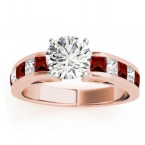 Diamond and Garnet Accented Engagement Ring 18k Rose Gold 1.00ct