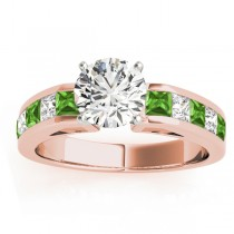 Diamond and Peridot Accented Engagement Ring 18k Rose Gold 1.00ct