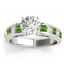 Diamond and Peridot Accented Engagement Ring 18k White Gold 1.00ct