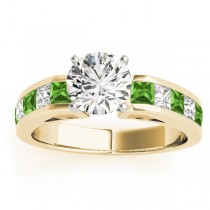 Diamond and Peridot Accented Engagement Ring 18k Yellow Gold 1.00ct