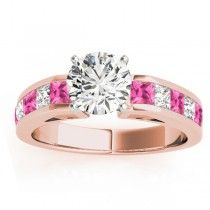 Diamond & Pink Sapphire Accents Engagement Ring 18k Rose Gold 1.00ct