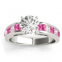 Diamond & Pink Sapphire Accents Engagement Ring 18k White Gold 1.00ct