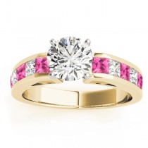 Diamond & Pink Sapphire Accents Engagement Ring 18k Yellow Gold 1.00ct