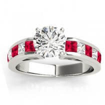 Diamond and Ruby Accented Engagement Ring 14k White Gold 1.00ct