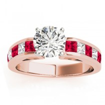 Diamond and Ruby Accented Engagement Ring 18k Rose Gold 1.00ct