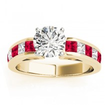 Diamond and Ruby Accented Engagement Ring 18k Yellow Gold 1.00ct