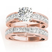 Diamond Princess-cut Channel Bridal Set 14k Rose Gold 2.20ct