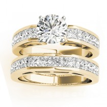 Diamond Princess-cut Channel Bridal Set 14k Yellow Gold 2.20ct