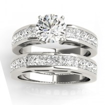 Diamond Princess-cut Channel Bridal Set 18k White Gold 2.20ct
