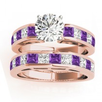 Diamond and Amethyst Accented Bridal Set 14k Rose Gold 2.20ct