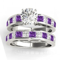 Diamond and Amethyst Accented Bridal Set 14k White Gold 2.20ct