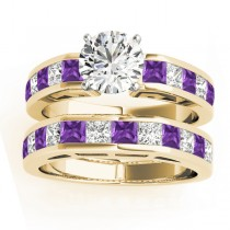 Diamond and Amethyst Accented Bridal Set 14k Yellow Gold 2.20ct