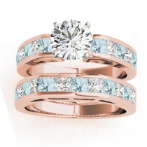 Diamond and Aquamarine Accented Bridal Set 14k Rose Gold 2.20ct