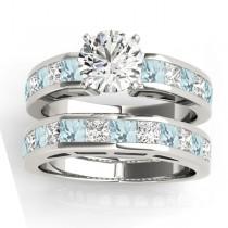 Diamond and Aquamarine Accented Bridal Set 14k White Gold 2.20ct