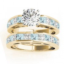 Diamond and Aquamarine Accented Bridal Set 14k Yellow Gold 2.20ct