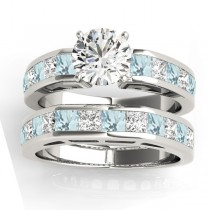 Diamond and Aquamarine Accented Bridal Set Palladium 2.20ct