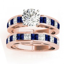 Diamond and Blue Sapphire Accented Bridal Set 14k Rose Gold 2.20ct