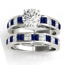 Diamond and Blue Sapphire Accented Bridal Set 14k White Gold 2.20ct