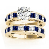 Diamond and Blue Sapphire Accented Bridal Set 14k Yellow Gold 2.20ct