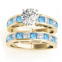 Diamond and Blue Topaz Accented Bridal Set 14k Yellow Gold 2.20ct