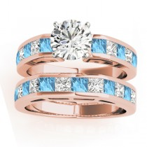 Diamond and Blue Topaz Accented Bridal Set 18k Rose Gold 2.20ct