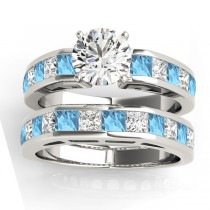 Diamond and Blue Topaz Accented Bridal Set Platinum 2.20ct