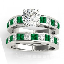 Diamond and Emerald Accented Bridal Set 14k White Gold 2.20ct