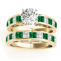 Diamond and Emerald Accented Bridal Set 14k Yellow Gold 2.20ct